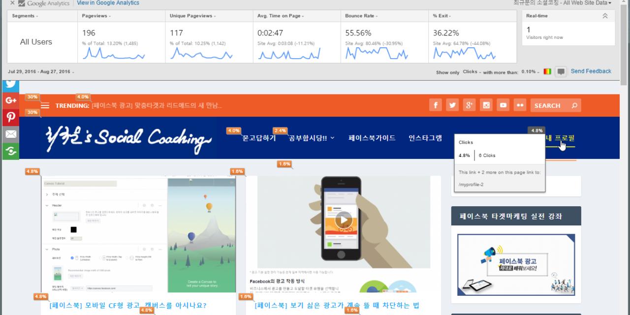 [구글분석] 태그매니저로 홈메인메뉴 클릭빈도 추적하기